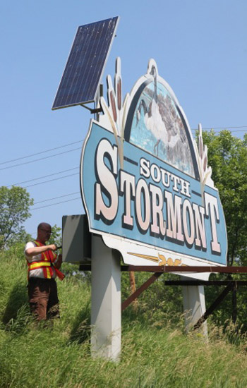 Solar powered county road sign (early model)