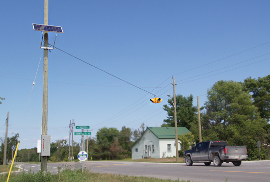 Solar powered 4-way intersection signals